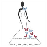 Bride with butterfly Royalty Free Stock Images