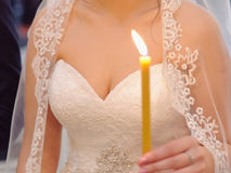 Bride with Candle Royalty Free Stock Photos
