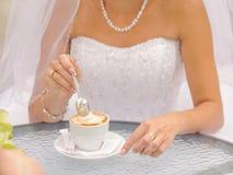Bride with Cappuccino Royalty Free Stock Photos