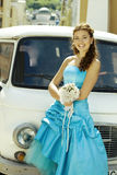 Bride and car Stock Photos