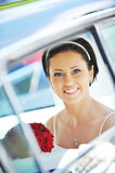Bride in car royalty free stock images