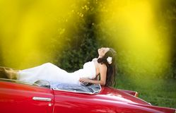 Bride and car Stock Photo