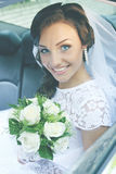 Bride in car, tinted Stock Images