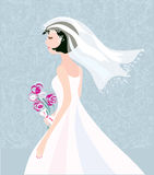 Bride card background with pattern cute retro Stock Images