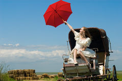 The bride and carriage. The beautiful bride in carriage on a background of field Stock Photo