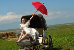 The bride and carriage Royalty Free Stock Photos