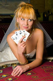 Bride in a casino Stock Images
