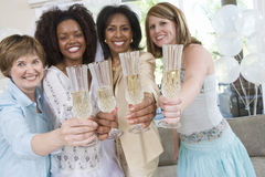 Bride Celebrating Hen Party With Friends And Mother Royalty Free Stock Images