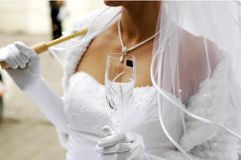 Bride with champagne glass Royalty Free Stock Photography