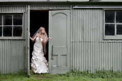 Bride checks for rain Stock Photography