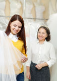 Bride chooses bridal veil at shop Royalty Free Stock Photo