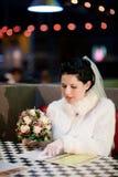 Bride choosing menu Royalty Free Stock Image