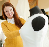 Bride choosing wedding dress in  store Stock Image