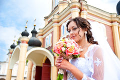 Bride at the church Stock Images