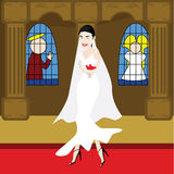 Bride in a church. Illustration of a young and attractive woman dressed as a bride inside a church Royalty Free Stock Images