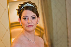 Bride Close Up. A elegant smiling bride posing for her wedding day celebration Stock Photo