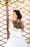 Bride  close up with  fan made of peacock feather Stock Images