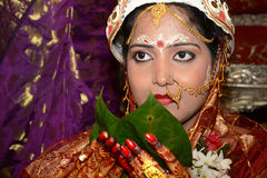 The Bride. Close up of a gorgeous Bengali bride in traditional Indian attire, ready to start a new life Royalty Free Stock Photography