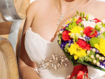 Bride with Colorful Bouquet Royalty Free Stock Image