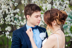 Bride corrects to groom the butterfly on the background of a flo Royalty Free Stock Image
