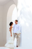 Bride couple just married in mediterranean Stock Photos