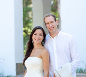 Bride couple just married in mediterranean Royalty Free Stock Images