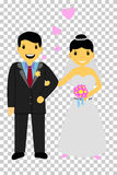 Bride Couple at transparent effect background Stock Image