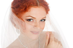 Bride covered her face with a veil Royalty Free Stock Photos