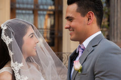 Bride covered in a veil. Cute bride covered in her wedding veil in front of the groom outside a courthouse Stock Photos