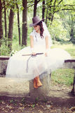 Bride in a cowboy hat, tinted Stock Photo
