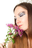 bride with creative make-up, body art and flowers Stock Photos