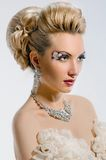 Bride with creative make-up and hairstyle Royalty Free Stock Photos