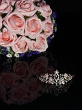 Bride crown and a bouquet of flowers Royalty Free Stock Photography
