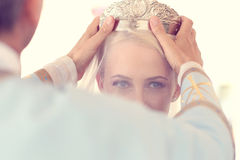 Bride with crown on her head Royalty Free Stock Image