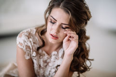 Bride crying royalty free stock photo