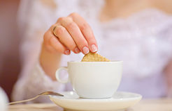 Bride and cup of coffee Royalty Free Stock Photo