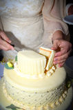 Bride cutting the wedding cake. Bride and groom cutting the wedding cake Royalty Free Stock Image