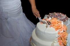 Bride Cutting Wedding Cake Stock Images