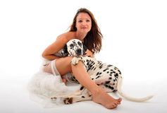 Bride and dalmatian royalty free stock images