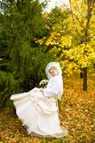 Bride dance  in autumn Royalty Free Stock Photos