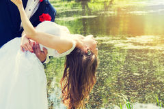 Bride dance with her groom. Royalty Free Stock Photography
