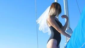 Bride dances on a yacht - a bachelorette party.  stock video