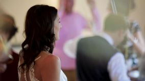 Dancing At A Wedding. Bride dancing with her father and all of the guests on her wedding day stock video