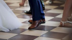 Dancing At A Wedding. Bride dancing with her father and all of the guests on her wedding day stock footage