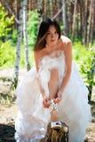 Bride with dark-brown hair Royalty Free Stock Image
