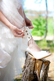 Bride with dark-brown hair Royalty Free Stock Photos