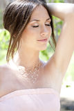 Bride with dark-brown hair Royalty Free Stock Photo