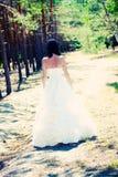 Bride with dark-brown hair posing royalty free stock image