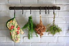 Bride de fixation de mur avec des herbes Image stock