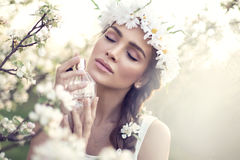 Bride decked out with white daisy flowers Stock Image